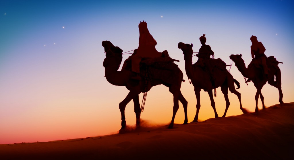 47062120 - three wise men camel travel desert bethlehem concept